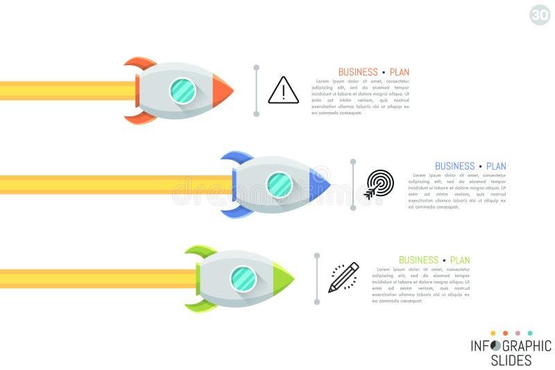Disposition de conception infographic moderne Trois fusées d'espace volant dans le droit, les pictogrammes et les zones de texte illustration de vecteur