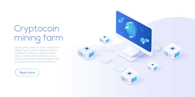 Disposition de ferme d'exploitation de Cryptocoin Cryptocurrency et filet de blockchain illustration de vecteur