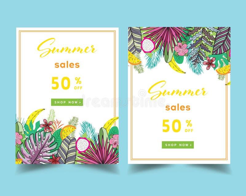 Disposition de fond de vente d'été pour des bannières, papier peint, insectes, invitation, affiches, brochure, remise de bon Vect illustration libre de droits
