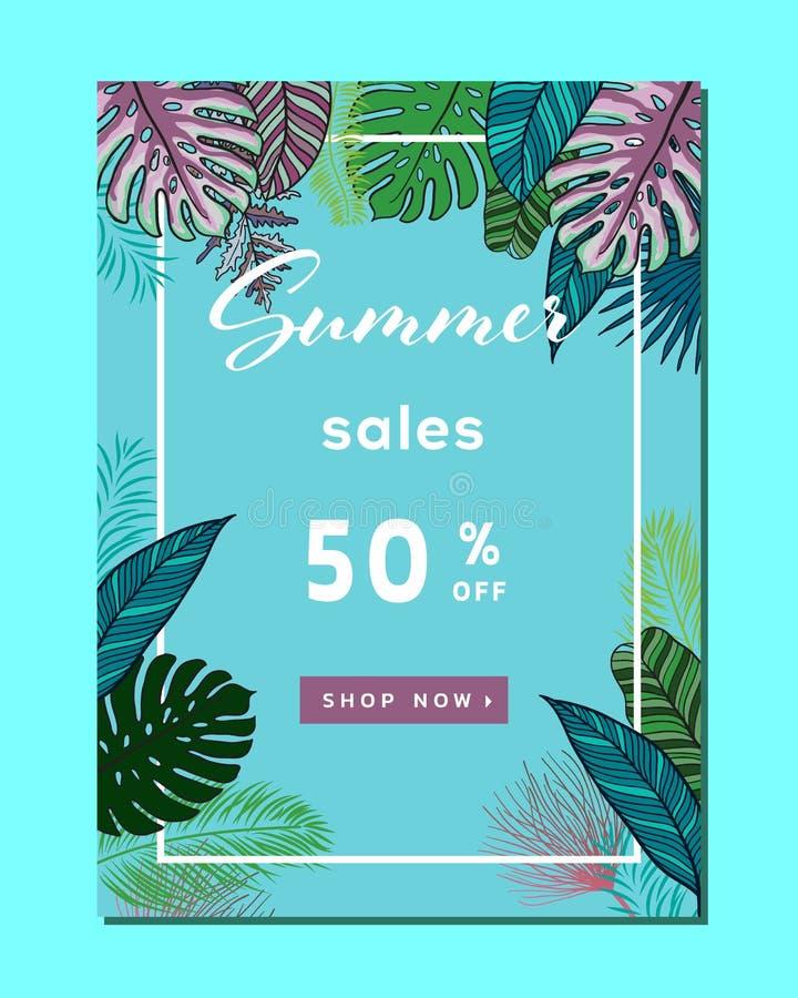 Disposition de fond de vente d'été pour des bannières, papier peint, insectes, invitation, affiches, brochure, remise de bon Vect illustration stock