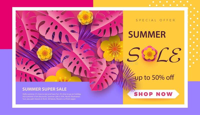 Disposition de fond de vente d'été pour des bannières, papier peint, insectes, invitation, affiches, brochure, remise de bon Te d illustration stock