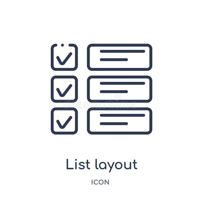 disposition de liste avec l'icône de cases à cocher de la collection d'ensemble d'interface utilisateurs Ligne mince disposition  illustration de vecteur
