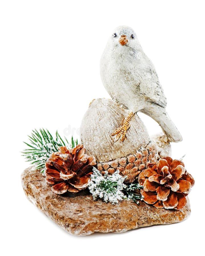 Disposition de Noël d'oiseau sur un écrou avec des cônes, aiguilles de pin photographie stock libre de droits