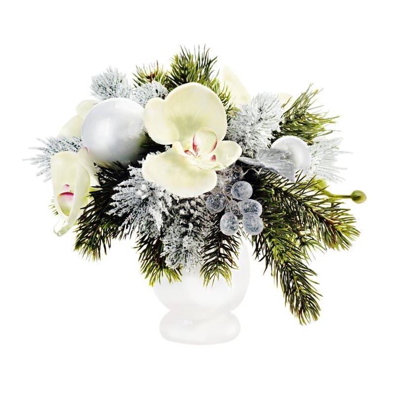 Disposition de Noël des boules, des orchidées et des flocons de neige de Noël photographie stock