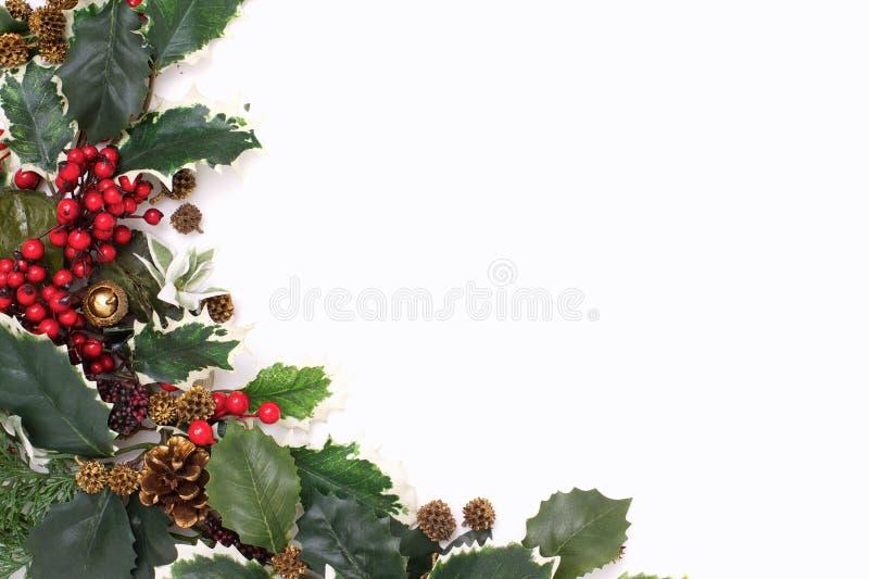Disposition de Noël des feuilles de vert et des baies rouges images stock