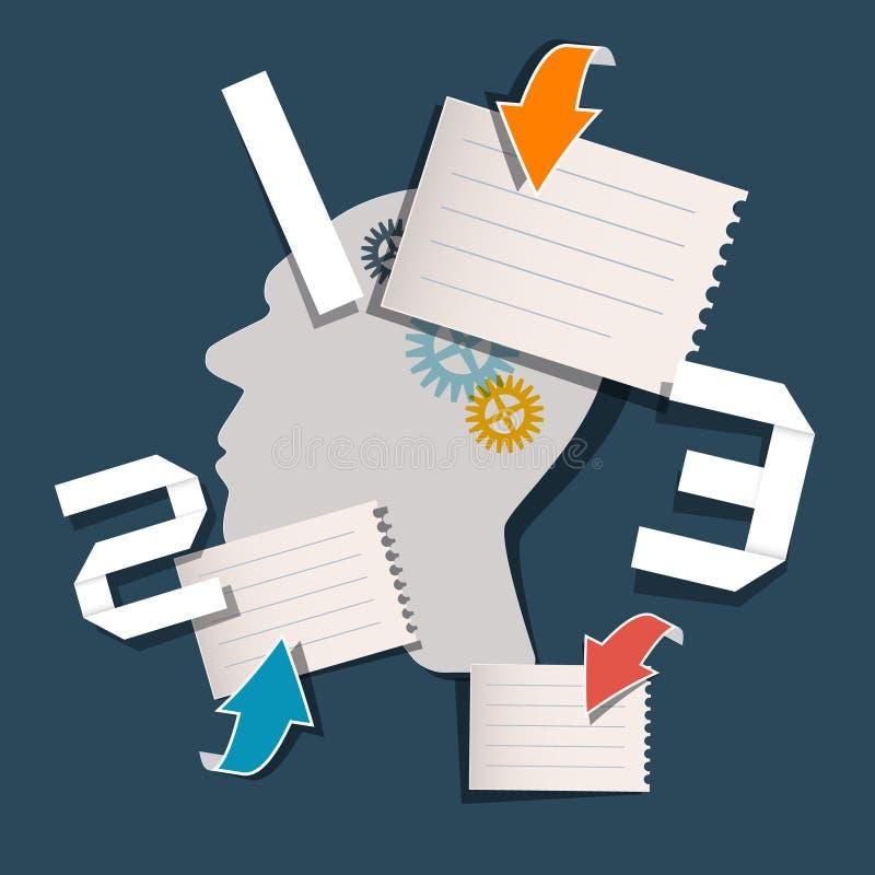 Disposition de papier d'Infographics de vecteur de trois étapes illustration libre de droits