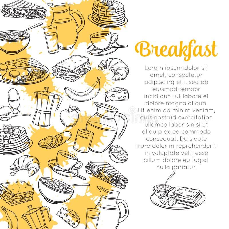 Disposition de petit déjeuner de croquis illustration stock