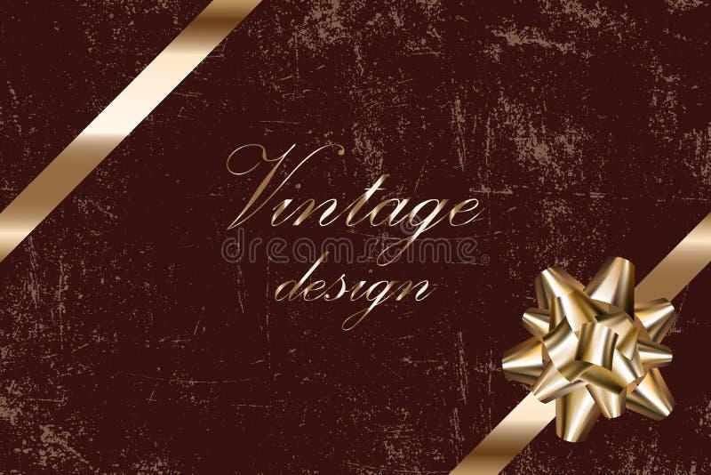 Disposition de vecteur de cru avec le vieux fond grunge minable, arc d'or et ruban, maquette pour la conception de l'emballage ca illustration libre de droits