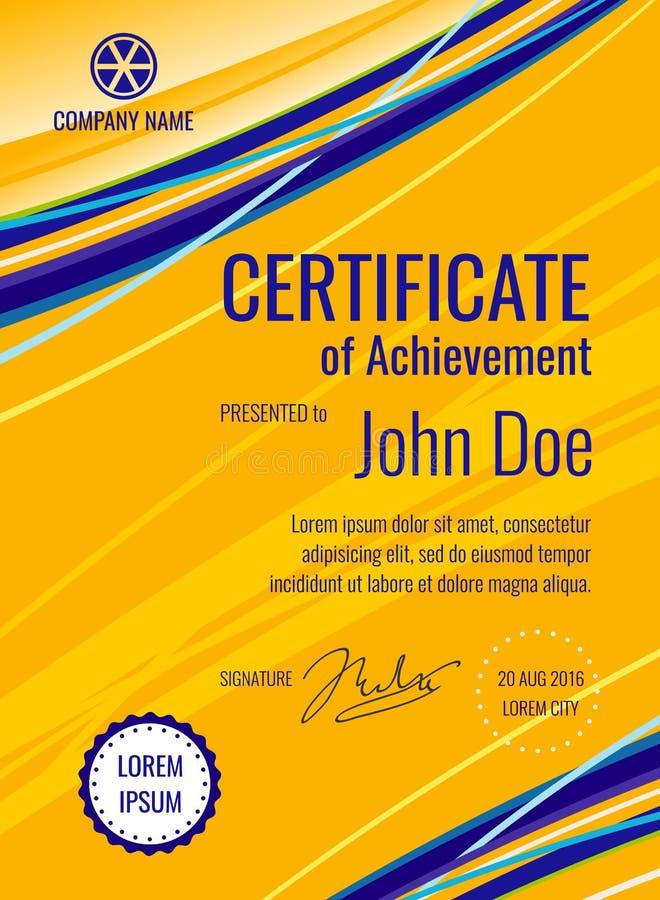 Disposition de vecteur de diplôme de calibre de certificat illustration de vecteur