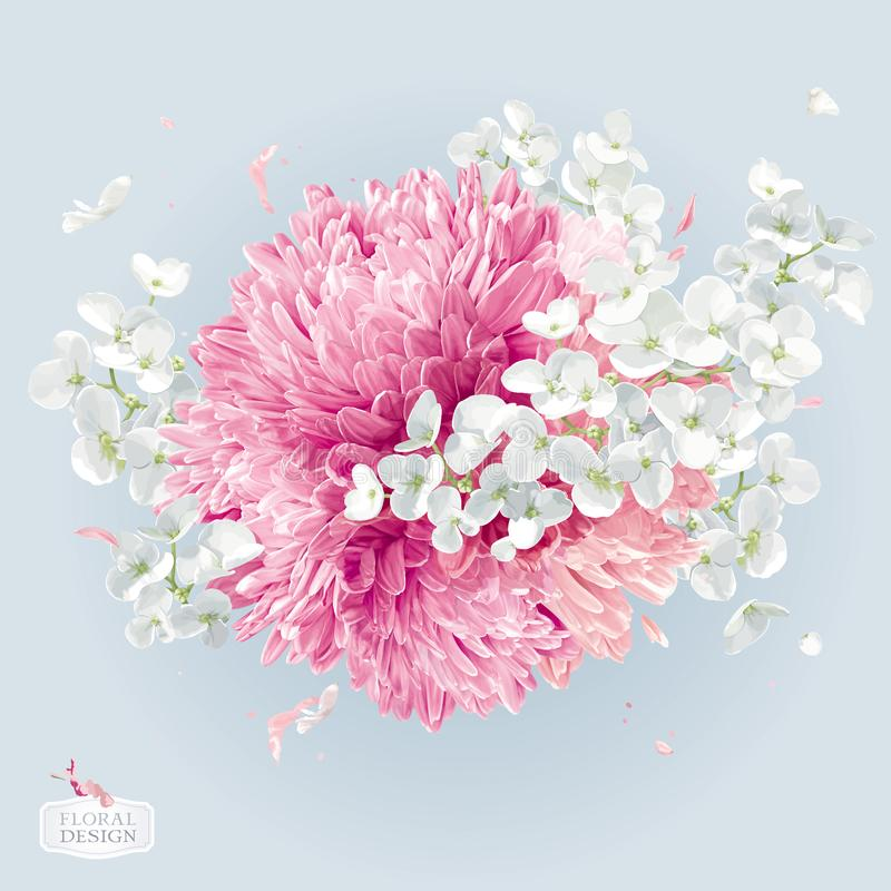 Disposition de vecteur de fleur de chrysanthèmes et d'Apple illustration stock