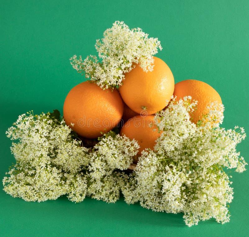 Disposition des oranges dans les wildflowers sauvages blancs sur un fond vert images stock