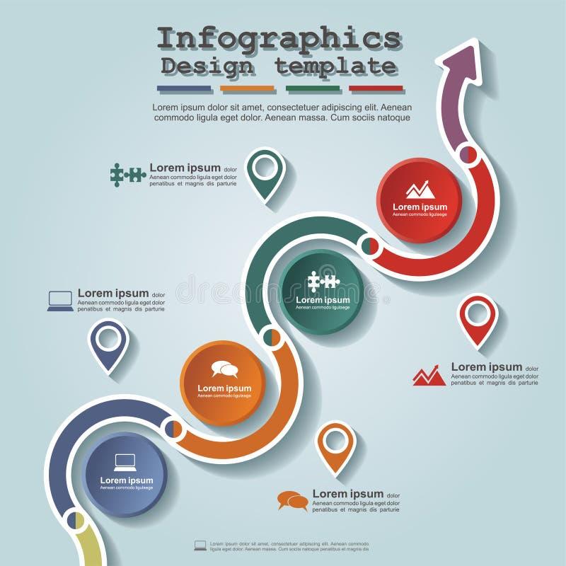 Disposition infographic d'élément de chronologie de route Vecteur illustration de vecteur