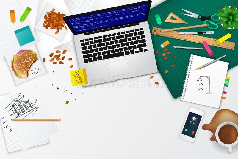 Disposition malpropre de calibre de maquette de produit de l'espace de bureau et de fonctionnement illustration de vecteur