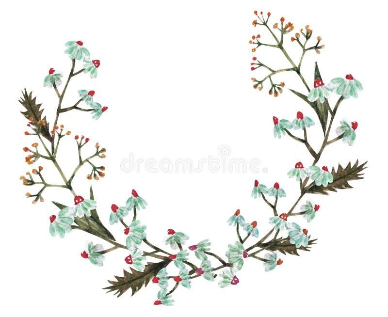 Disposition merveilleuse des cartes des fleurs d'aquarelle Invita de maquette illustration de vecteur