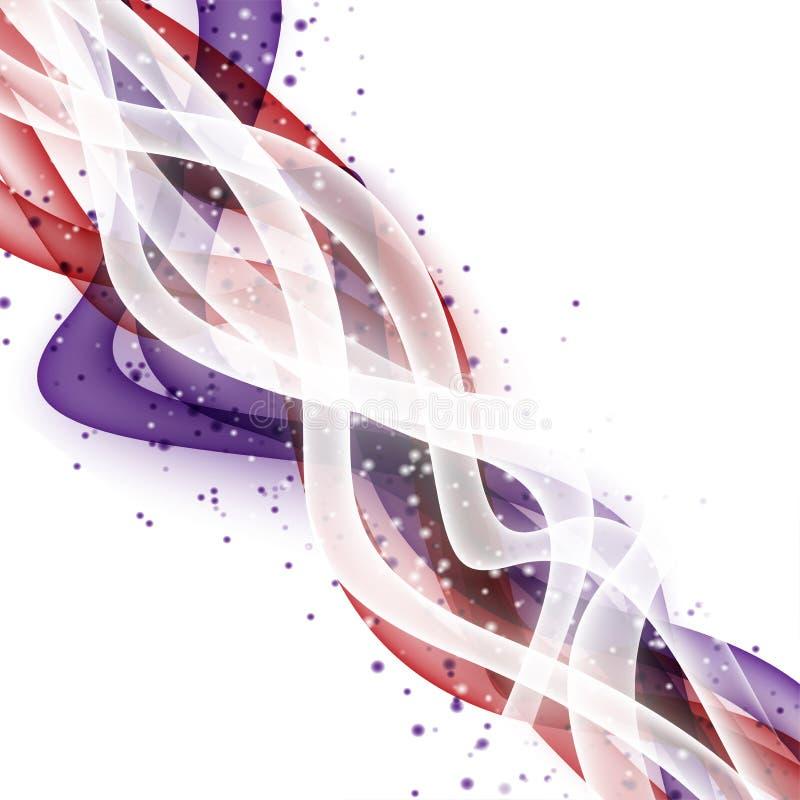 Disposition moderne de vague abstraite avec le bruissement rouge frais de violette blanche illustration libre de droits