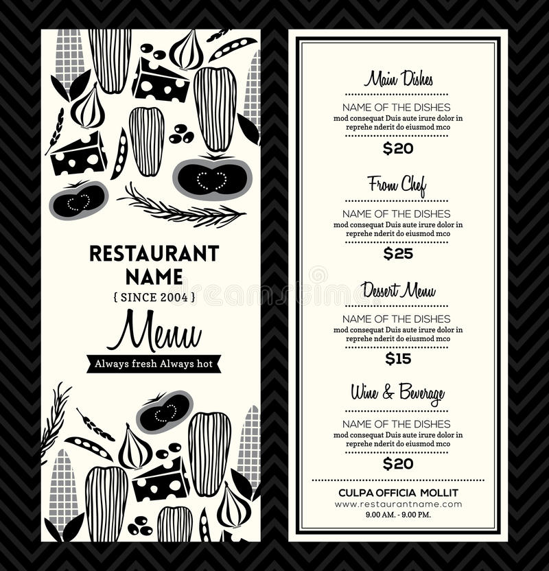 Disposition noire et blanche de calibre de conception de menu de restaurant illustration de vecteur