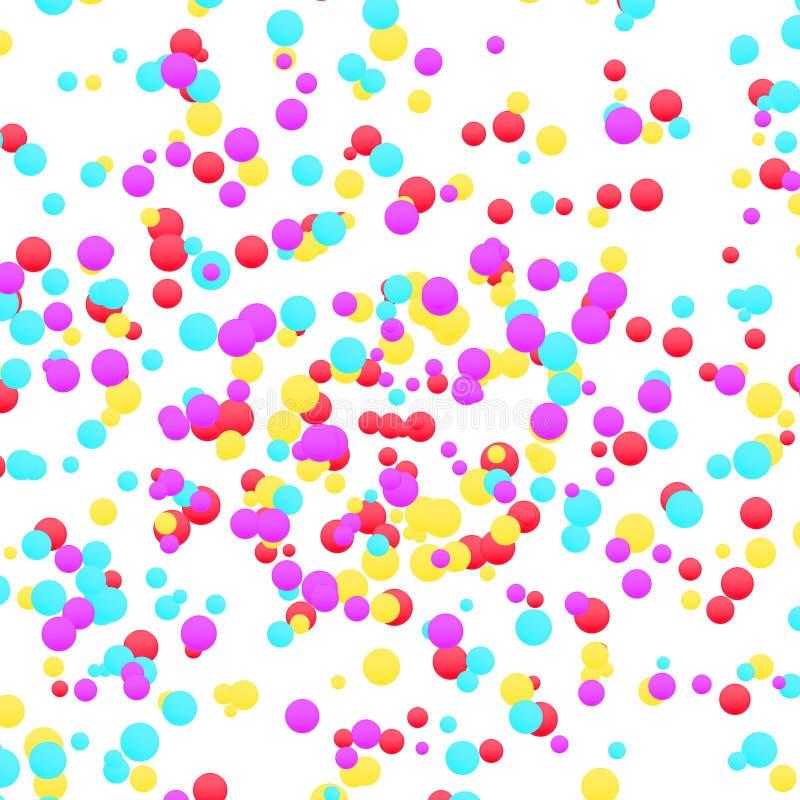 Disposition rouge et bleue jaune colorée lumineuse de confettis Gra de fête illustration stock