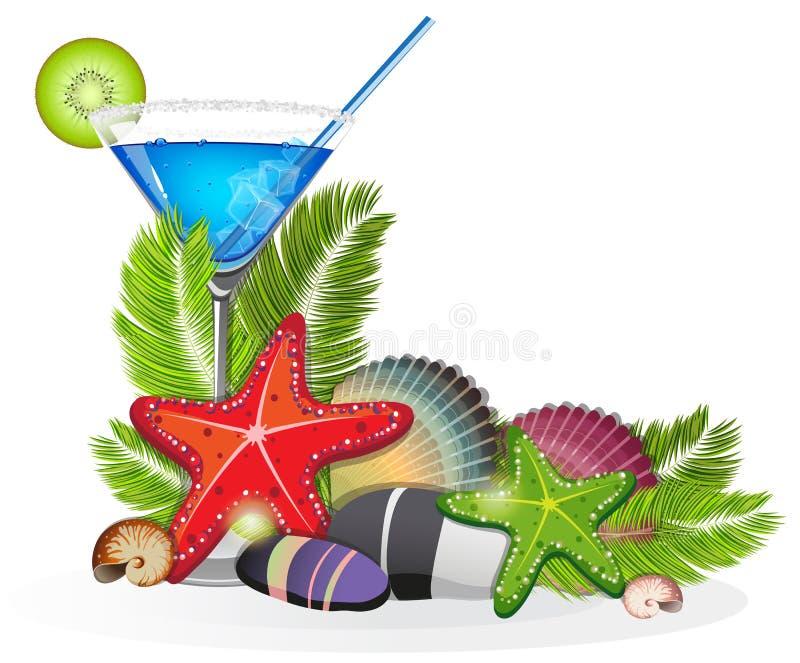 Disposition tropicale avec le cocktail bleu illustration libre de droits