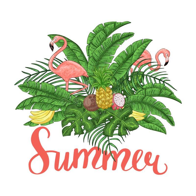 Disposition tropicale d'été avec des flamants, des palmettes et des fleurs exotiques illustration libre de droits