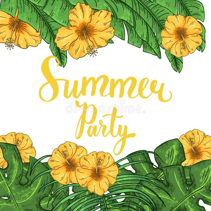 Disposition tropicale d'été avec la ketmie, les palmettes et les fleurs exotiques illustration stock