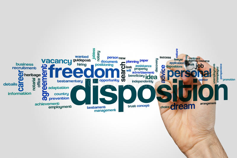 Disposition word cloud concept on grey background.  stock photo