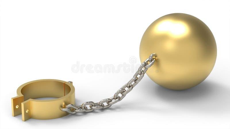 Dispositivi d'ancoraggio, palla del peso e catena dorati del platino royalty illustrazione gratis