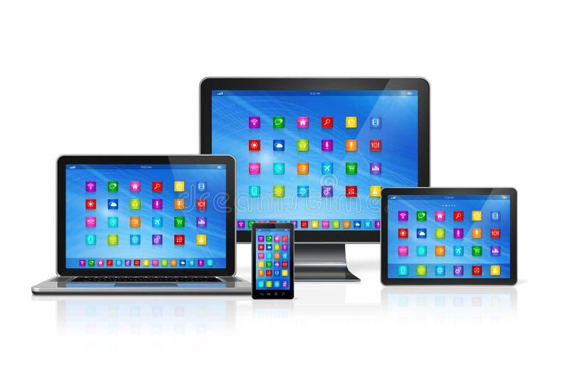Dispositivi del computer messi illustrazione vettoriale