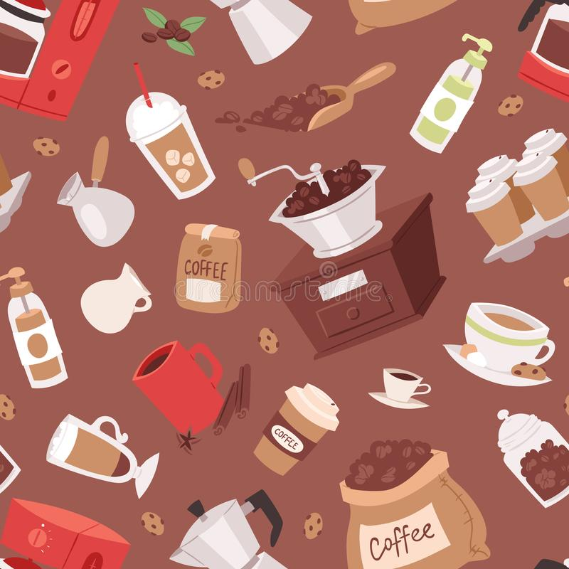 Dispositivi del vaso del fumetto della bevanda del caffè e tazza del caffè espresso della caffettiera della bevanda di mattina, v illustrazione vettoriale