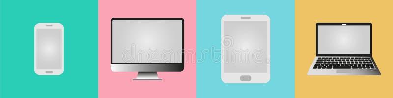 Dispositivi di comunicazione del telefono, della compressa, del computer portatile e del desktop computer royalty illustrazione gratis