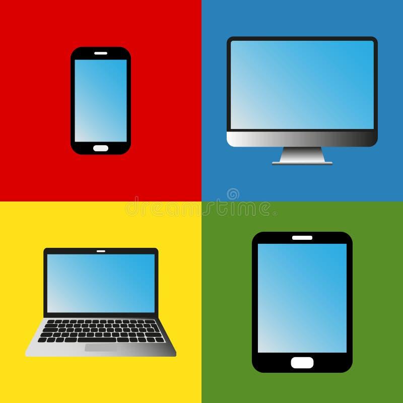 Dispositivi di comunicazione del telefono, della compressa, del computer portatile e del desktop computer illustrazione vettoriale