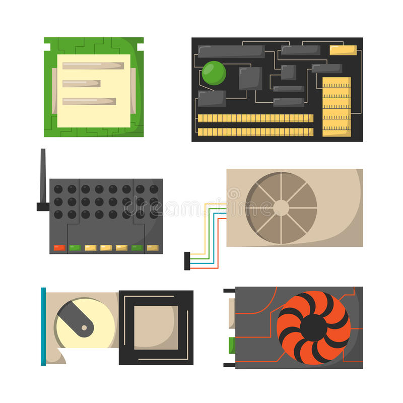 Dispositivi di elettronica degli accessori componenti della rete delle parti del computer i vari ed unità di elaborazione di desk illustrazione di stock