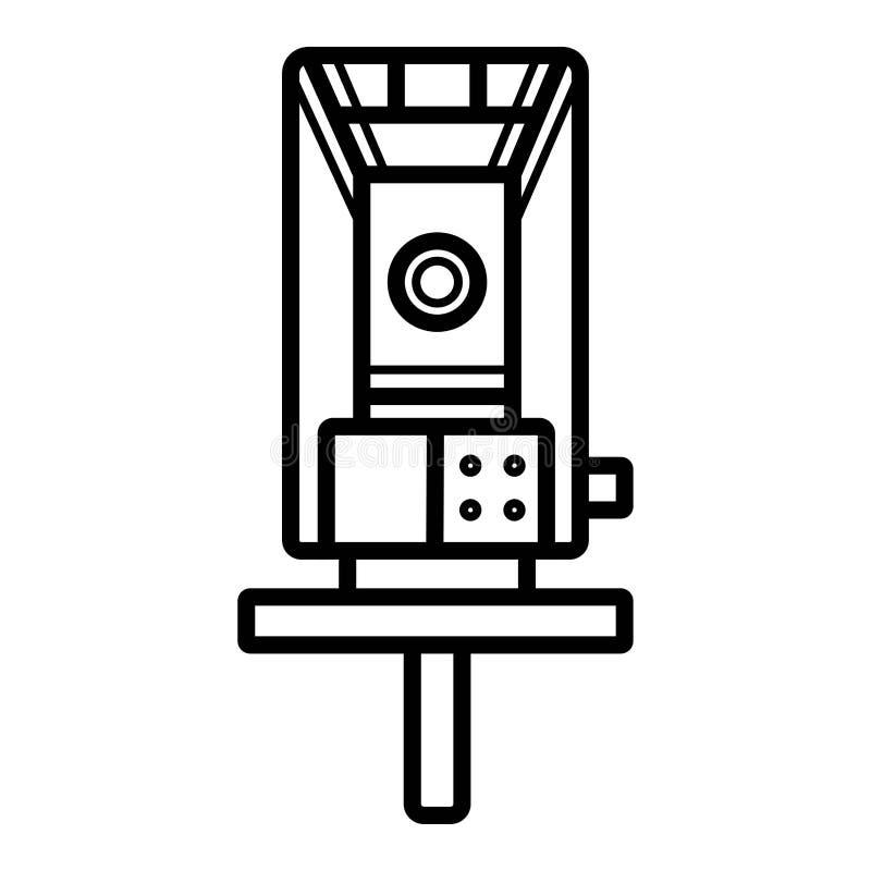 Dispositivi di misurazione ottici geodetici del livello del laser Tachimetrica, icona del teodolite royalty illustrazione gratis