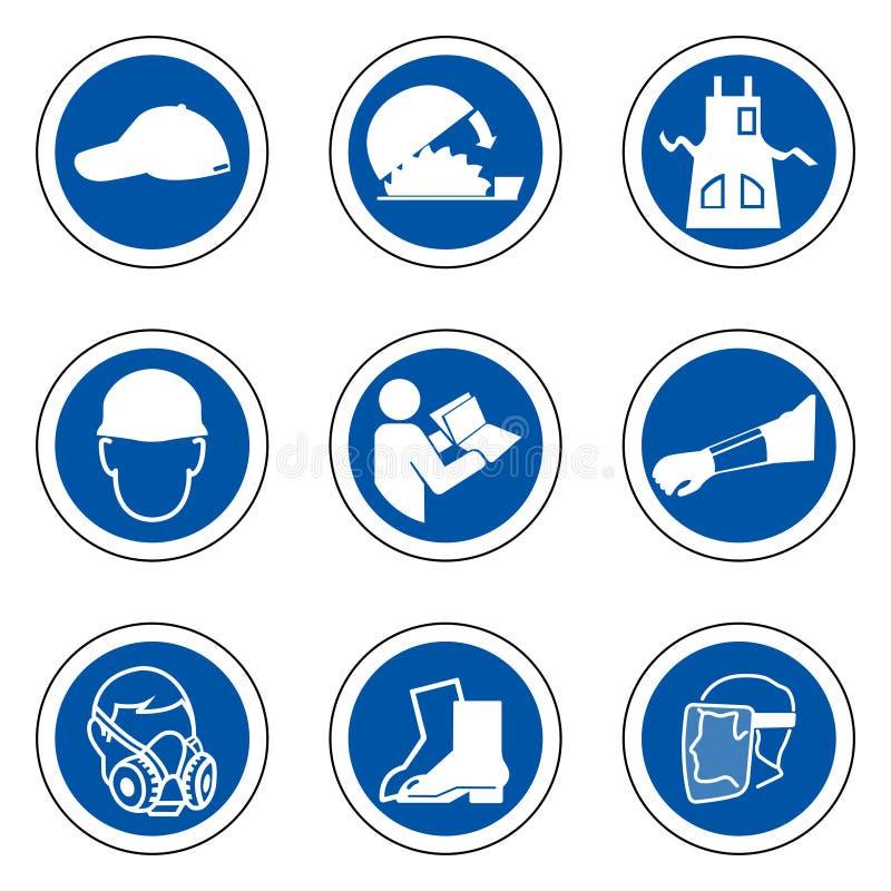 Dispositivi di protezione individuale richiesti ( PPE) Simbolo, isolato dell'icona di sicurezza su fondo bianco, illustrazione EN royalty illustrazione gratis