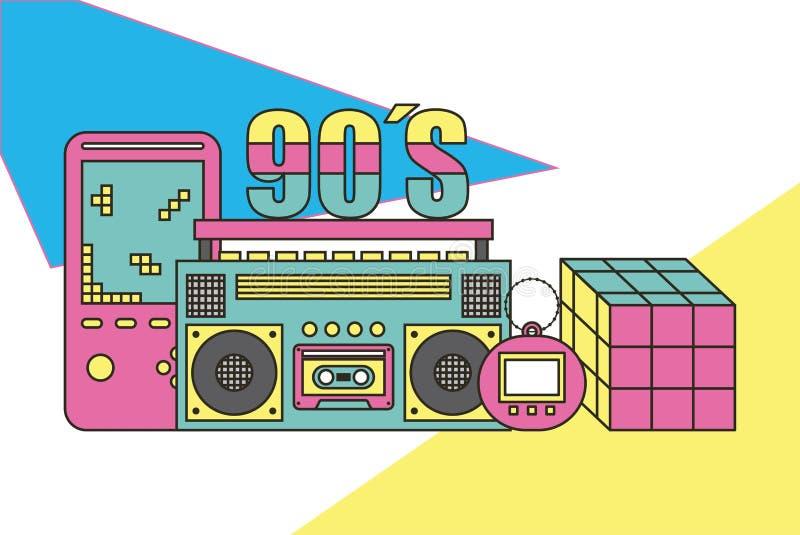 Dispositivi e giocattoli di tamagotchi 90s del video gioco del rubik del cubo del registratore retro illustrazione di stock