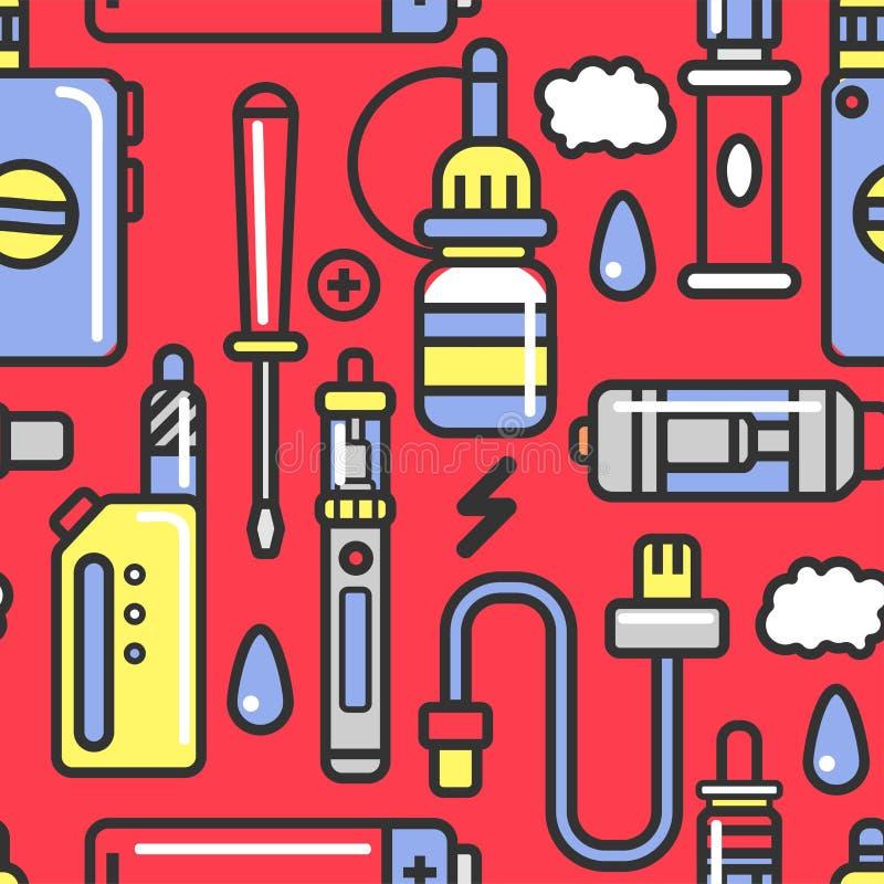 Dispositivi ed accessori di Vape con il modello senza cuciture condito del vapore illustrazione vettoriale