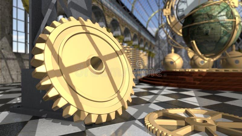 Dispositivi meccanici nell'interno vittoriano rappresentazione 3d illustrazione vettoriale