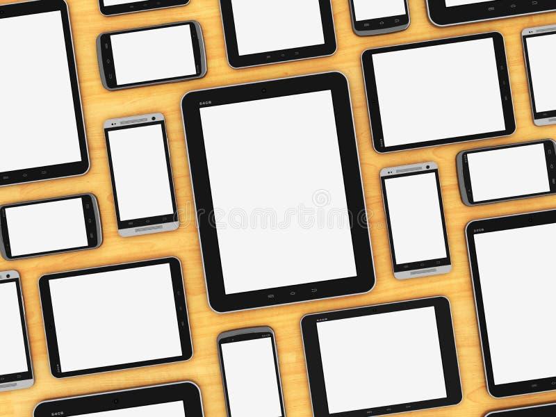 Dispositivi mobili in bianco sulla tavola di legno illustrazione vettoriale