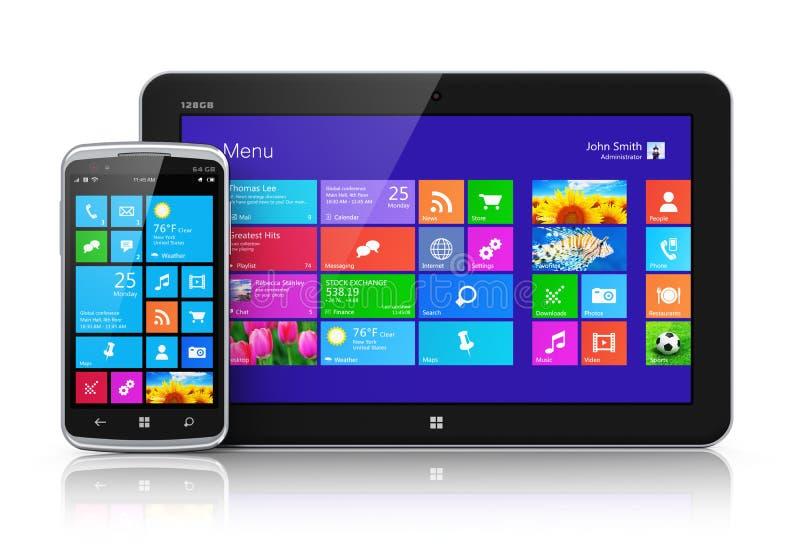 Dispositivi mobili con l'interfaccia dello schermo attivabile al tatto royalty illustrazione gratis