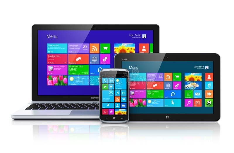 Dispositivi mobili con l'interfaccia dello schermo attivabile al tatto illustrazione di stock