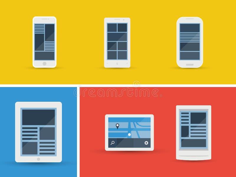 Dispositivi mobili di vettore messi illustrazione di stock