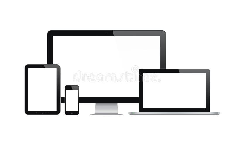 Dispositivi moderni di tehnology messi illustrazione di stock