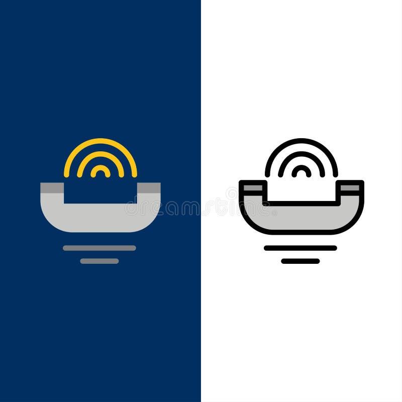Dispositivo, ajuda, produtividade, apoio, ícones do telefone O plano e a linha ícone enchido ajustaram o fundo azul do vetor ilustração stock
