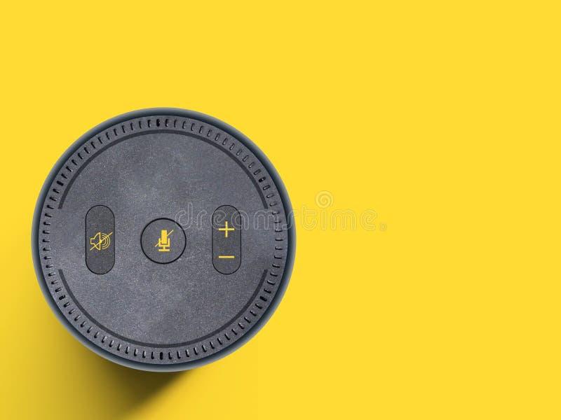 Dispositivo auxiliar de la voz, altavoz inalámbrico portátil en el fondo amarillo llano - espacio de la copia