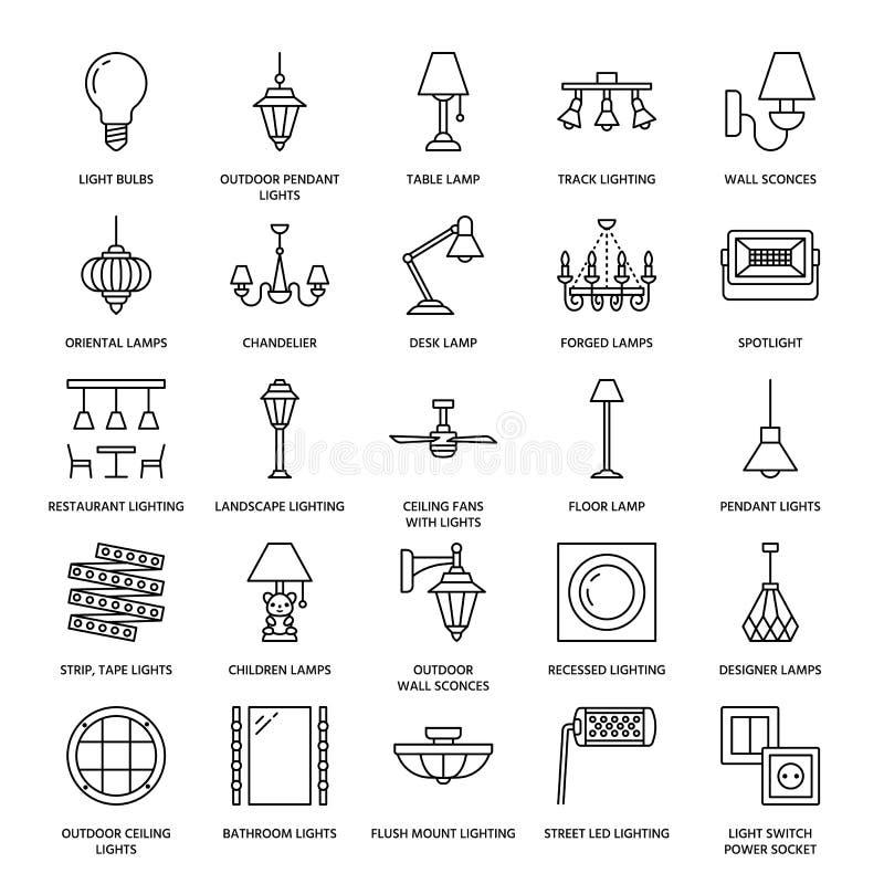 Dispositivo bonde claro, linha lisa ícones das lâmpadas Equipamento de iluminação home e exterior - candelabro, candelabro de par ilustração royalty free