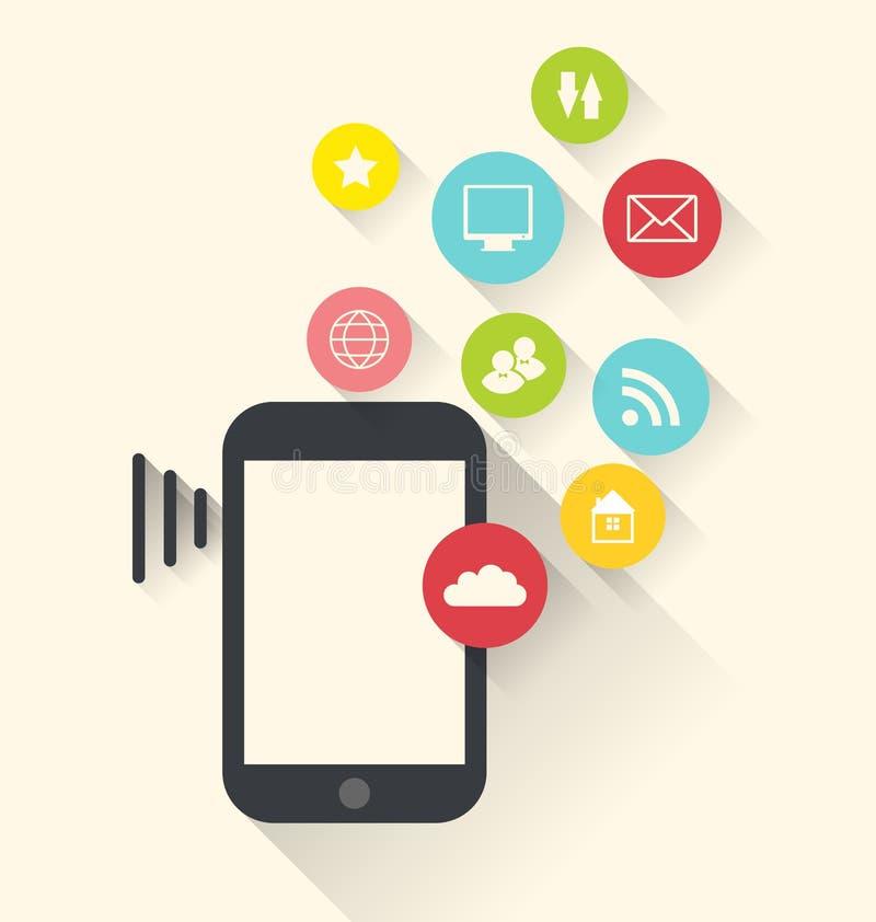 Dispositivo com ícones das aplicações (app), plano moderno de Smartphone ilustração do vetor