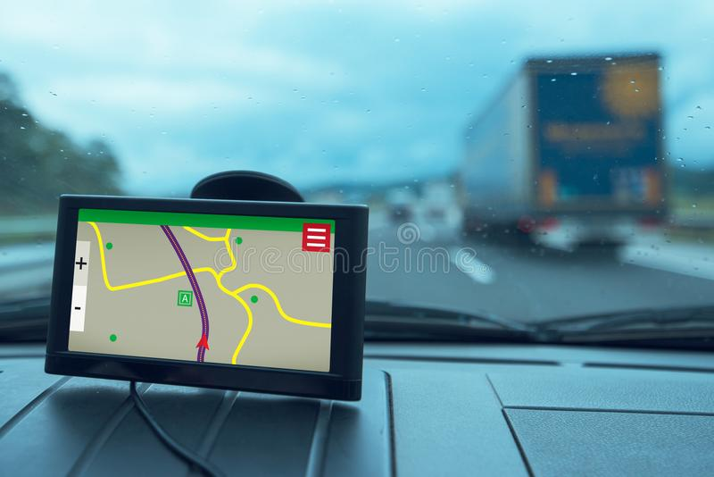 Dispositivo da navegação do carro de GPS fotos de stock
