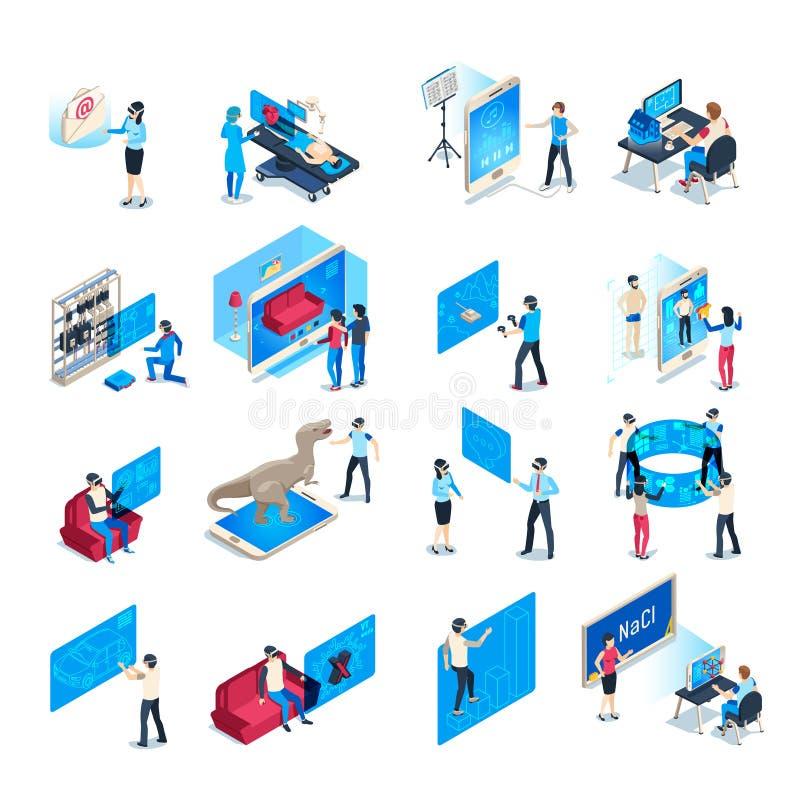 Dispositivo da realidade virtual Experiência de formação da imersão isométrica no equipamento do vr Ilustração humana imergida do ilustração do vetor