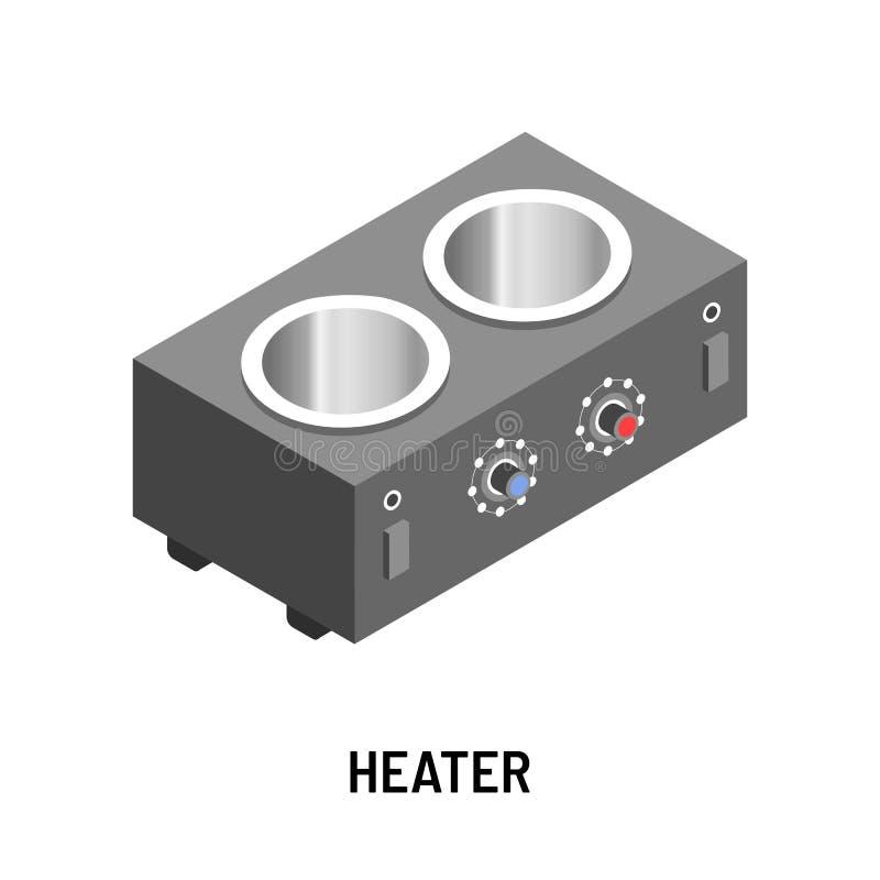 Dispositivo de aquecimento isolado calefator do objeto com reguladores da temperatura ilustração royalty free