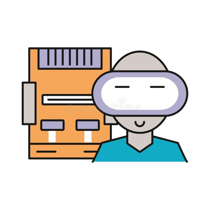 Dispositivo de consola de videojuegos con carácter de jugador fotografía de archivo
