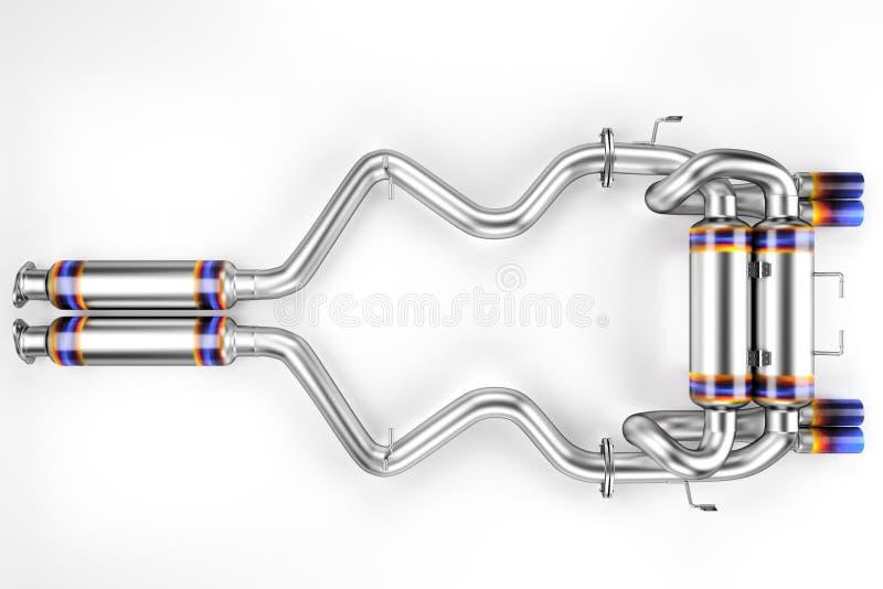 Dispositivo de escape de adaptación para un coche de deportes Silenciador del coche, silenciador del extractor stock de ilustración